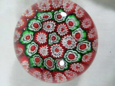 Vintage Art Glass Blown Murano Millefiori Red and Green Flower Paperweight