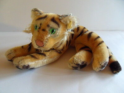 Steiff tiger button flag mohair stuffed animal  Germany 1048