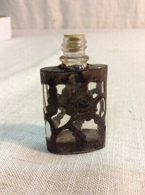 Vintage Antique Sterling Silver 925 & Glass Perfume Bottle Pocket Flask