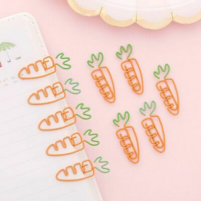 6X Kawaii Creative Carrot Shaped Metal Paper Clip Pin Bookmark Stationery Tool