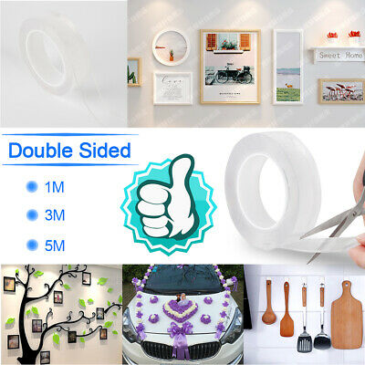 Multi-Functional Double-Sided Traceless Washable Adhesive Tape 1/3/5M Reusable