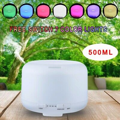 500ml Aroma Ultrasonic Essential Oil Diffuser Air Humidifier Remote Lamp Light