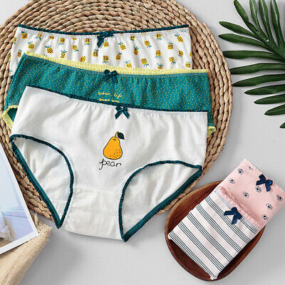 Lovely Woman Girls Cute Underwear Stripes Bow Cotton Briefs Panties Underpant