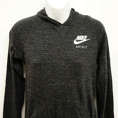 New Nike Girls Youth Sz L Vintage Just Do It Style Gray Athletic Jersey Hoodie