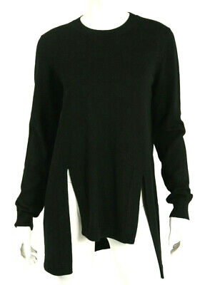 GIVENCHY 13A Black Wool Alpaca Blend Front Slit Crewneck Sweater M