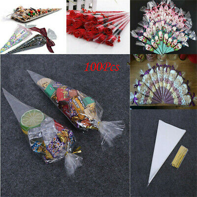 100Pcs DIY Gift Candies Cone Cellophane Bags Clear Triangle With Twist Ties Bag