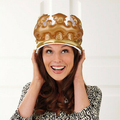 Inflatable Adult Child Gold Crown - Costume Accessory Fancy Dress Up Toy Party