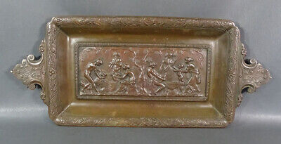 19c.Antique French E.Robert Signed Bronze Bas-Relief Nude Scene Wall Plaque Tray
