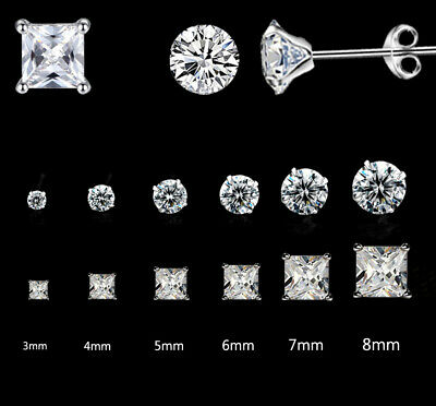 925 Sterling Silver Classic Crystal Cutting Stud Earrings Cubic Zirconia Gift UK