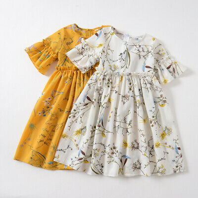 2Y-7Y Toddler Baby Kid Girl Ruched Floral Flower Skirt Princess Casual Dresses