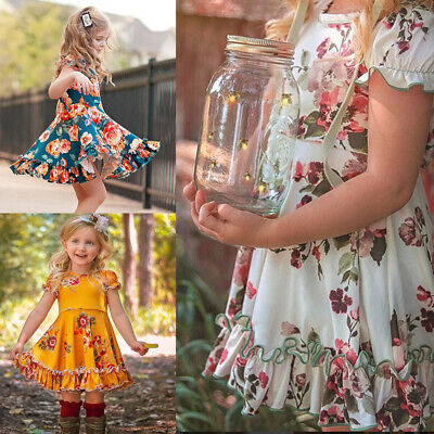6M-4Y Toddler Baby Kids Girls Ruched Ruffles Floral Flowers Princess Dresses