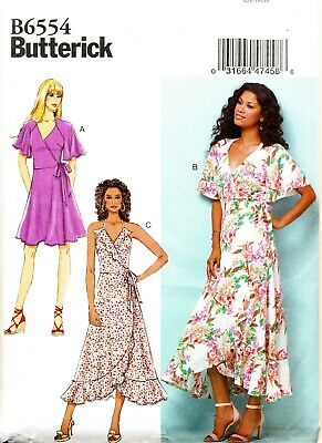 Butterick Sewing Pattern 6554 Misses 14-22 Wrap Dress & Maxi With Sleeve Options