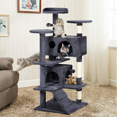 Gray 51 Cat Tree Tower Condo Multi-Level Pet Kitty Play House Scratching Post