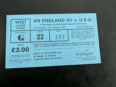 RUGBY FOOTBALL UNION match TICKET 1977 ENGLAND 15 USA AMERICA