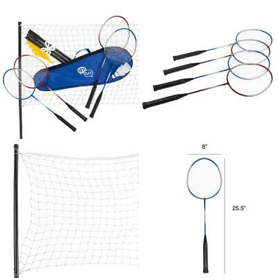 Badminton Set Complete Outdoor Yard Game with 4 Racquets, Net with Poles, 3 Shut