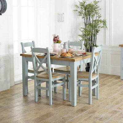 Grey extending dining table 4 dining chair kitchen furniture set country cottage