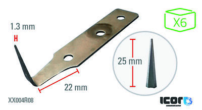 ICOR Stainless Steel Blades for Cold Knives 25 mm (x6)