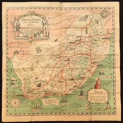 South Africa & Rhodesia c.1930's Decorative Texaco Poster Map by Frank Waller