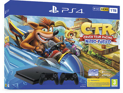 Console Sony Playstation 4 1Tb Black + Crash Team Racing + 2 Dualshock 4 V2