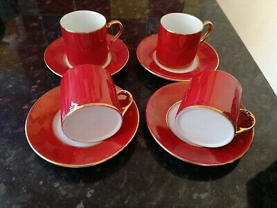 Beautiful Red & Gold Gilt Coffee Cups / Expresso Cans Set 4 X Cups & Saucers