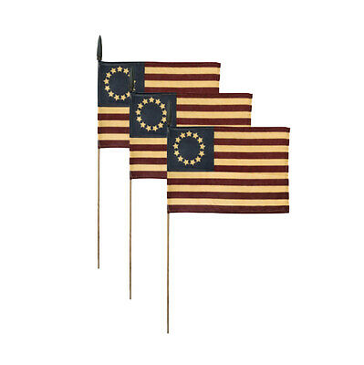 "Set of 3 ~ Primitive Tea Stained Betsy Ross Flag on A Stick ~ 7"" X 11"""