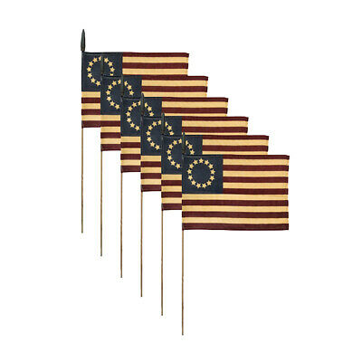 "Set of 6 ~ Primitive Tea Stained Betsy Ross Flag on A Stick ~ 7"" X 11"""