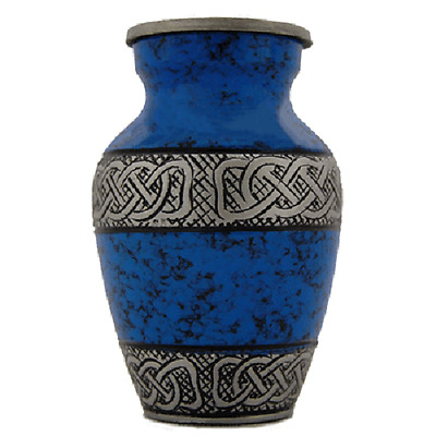 Blue & Silver Keepsake Urn for Human Ashes - Small - Cremation Memorial