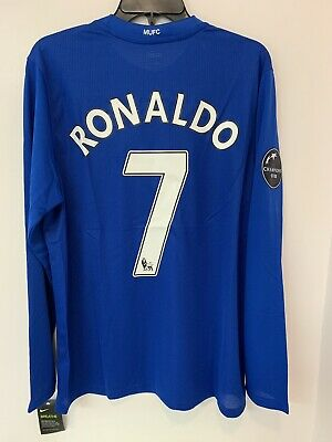separation shoes 5c9ad b4332 NEW NIKE CRISTIANO Ronaldo Manchester United 2007-2008 Blue 3rd Jersey -  Large