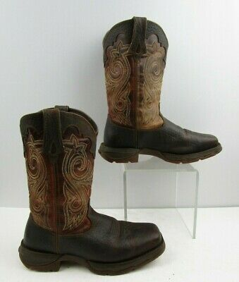 5fc4f447736 LADIES DURANGO LADY Rebel Brown Leather Square Safety Toe Boots Size: 6 M