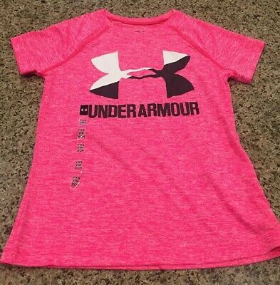 Under Armour T-Shirt Girls Pink XS Flex Top Heatgear New Fast Shipping