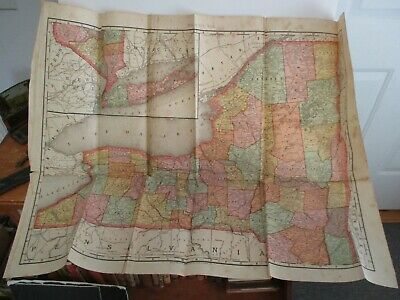1893 New York State Map Rand McNally & Co.