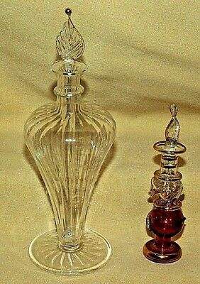 Perfume Bottle Set 2 Glass Leaf Gold Cranberry Ruby Tint Stopper Vanity.