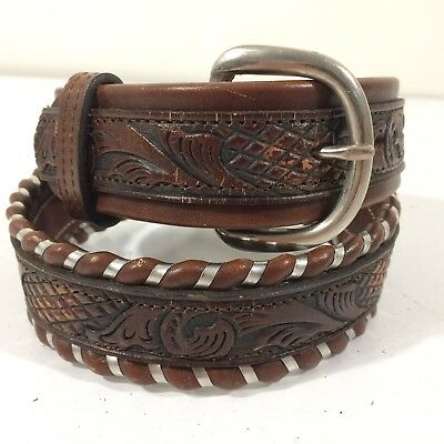 NOS Vtg Youth Brown CARVED TOOLED Leather Cowboy Western SILVER LACED Belt 26-28