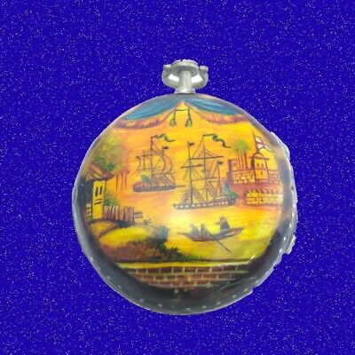 Stunning Silver and Under Painted US Colonial Verge  Pair Case Pocket Watch 1773