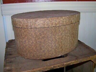 Primitive Vintage Large Oval Fabric Band Box  Old Fabric Aged Look