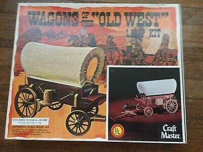 Vintage Wagons Of The Old West Craft Master Covered Wagon Lamp Model Wooden Kit