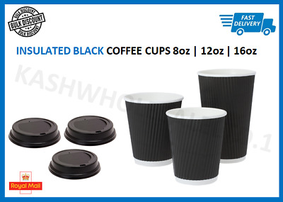8oz|12oz|16oz Black Insulated Disposable Paper Coffee Cups Ripple Paper Cups