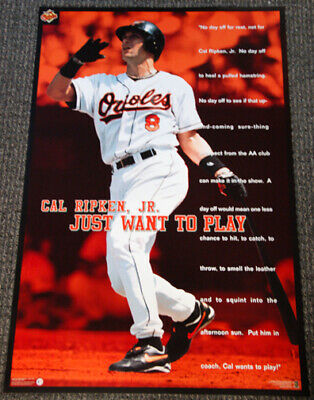 Cal Ripken Jr. JUST PLAY Vintage 1997 Baltimore Orioles Costacos Brothers Poster