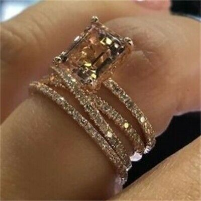 18K Yellow Gold Filled Morganite Fashion Jewelry Gift Birthday Ring Size 5-11