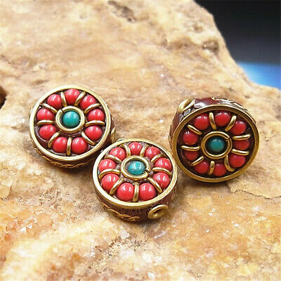 3PCS/Lot Nepal Copper Man-made Coral Loose Beads Accessories Cute Elegant Party