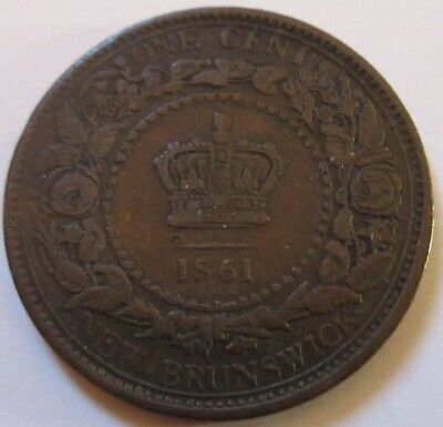 1861 Canada New Brunswick Large Cent Coin. BETTER GRADE (RJ193)