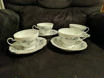 Set Lot Of 4 Johann Haviland Bavaria Germany Blue Garland Cups & Saucers