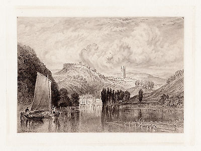 """Charming WILLIAM TURNER FRAMED 1800s Etching """"Sailing the River Dart"""" SIGNED COA"""