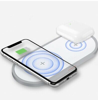 AUDON Dual Wireless Charger, Double Qi Fast Wireless Charging Pad for Airpods 2