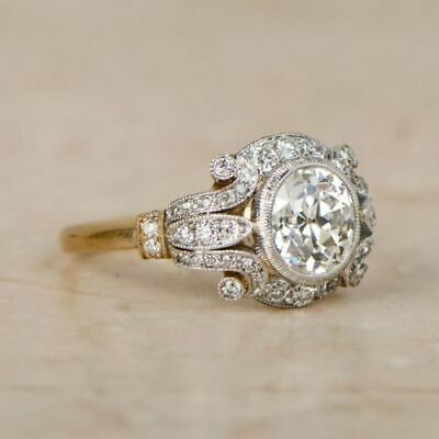 14K White Gold Over Circa Antique Engagement Ring Vintage Edwardian 2 Ct Diamond