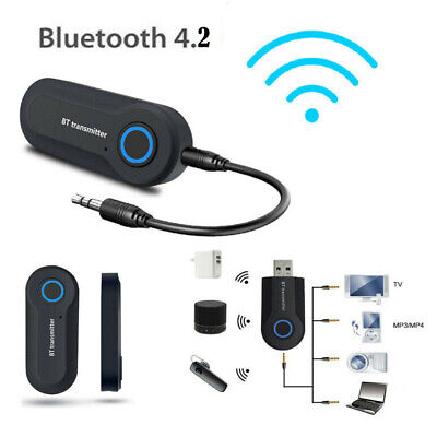 Wireless Bluetooth V4.2 Transmitter A2DP Audio RCA to 3.5mm AUX +USB Adapter HUB