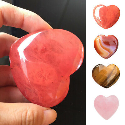 UK Natural Rose Quartz Crystal Carved Puffy Love Heart Shaped Stone Gift Decor