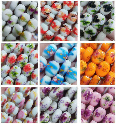 22Pcs Multicolor 12x14mm Ceramic Porcelain Flower Printed DIY Spacer Flat Beads