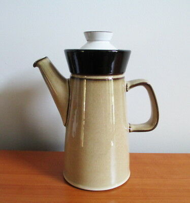 Denby Country Cuisine Lidded Coffee Pot Brown White 1980s Stoneware England