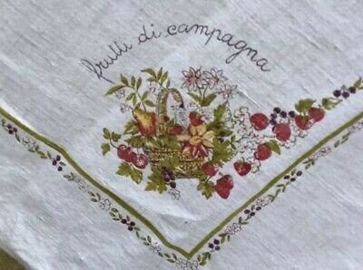"""Vintage Harvest Tablecloth Fruits Flowers Large 84"""" X 56"""" Fruitti Di Campagna"""